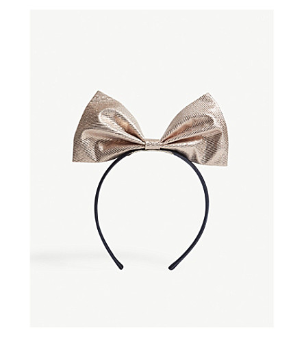 HUCKLEBONES Metallic bow hairband (Rose+gold