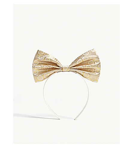 HUCKLEBONES Bow floral print hairband (Yellow+gold