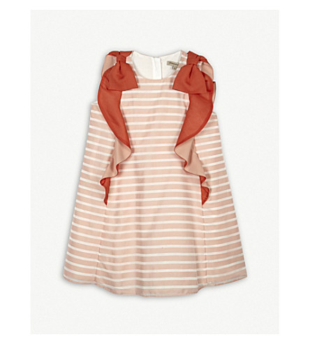 HUCKLEBONES Ruffle stripe trapeze dress 4-10 years (Milkshake/geranium