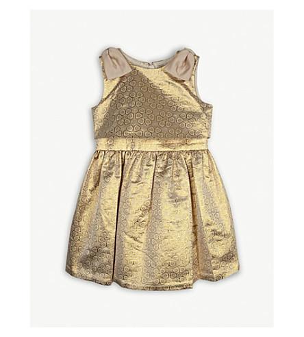 HUCKLEBONES Metallic floral dress 4-10 years (Yellow+gold