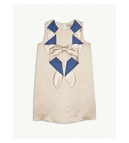 HUCKLEBONES Oragami bow shift dress 4-10 years (Blush/royal+blue
