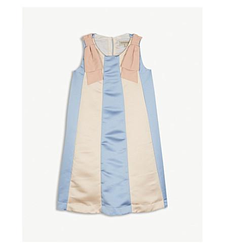 HUCKLEBONES Panelled Trapeze satin dress 4-10 years (Blush/cornflower