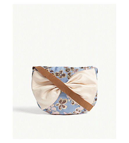 HUCKLEBONES Metallic floral bow shoulder bag (Cornflower/gold