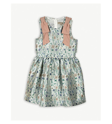 HUCKLEBONES Floral bow dress 4-10 years (Multi