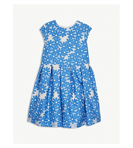 HUCKLEBONES Daisy Meadow Jacquard Bodice dress 4-10 years (Cobalt/blush