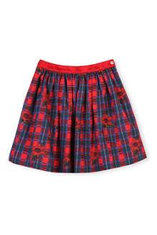 OSCAR DE LA RENTA Tartan floral cotton skirt