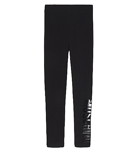 MOSCHINO Logo print cotton leggings 4-14 years (Black