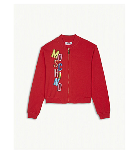 MOSCHINO Bubble logo zip-up cotton-blend jacket 4-14 years (Poppy+red
