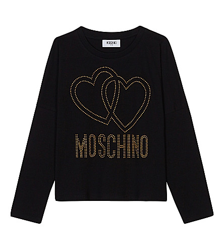 MOSCHINO Studded logo cotton long-sleeved top 4-14 years (Black