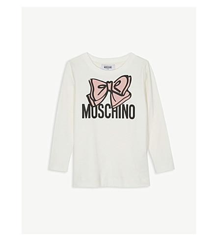 MOSCHINO Maxi bow cotton long-sleeve T-shirt 4-14 years (Cream