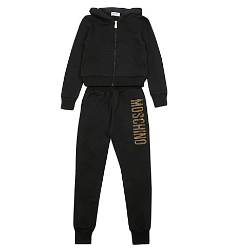MOSCHINO Studded cotton tracksuit set 4-14 years (Black