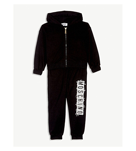MOSCHINO Logo cotton-blend tracksuit 4-14 years (Black