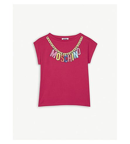 MOSCHINO Chain logo cotton-blend T-shirt 4-14 years (Fuschia