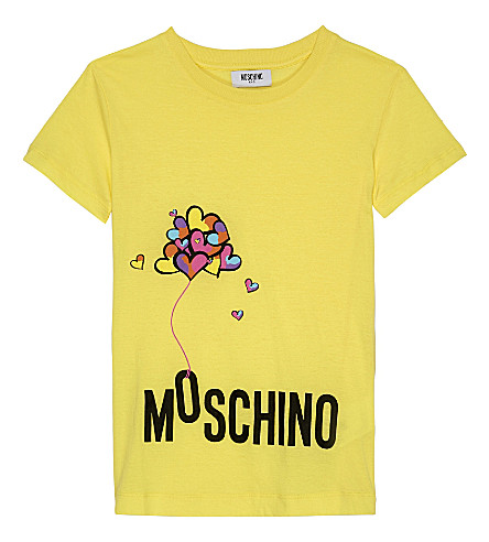 MOSCHINO Heart Balloon cotton T-shirt 4-14 years (Lemon+yellow