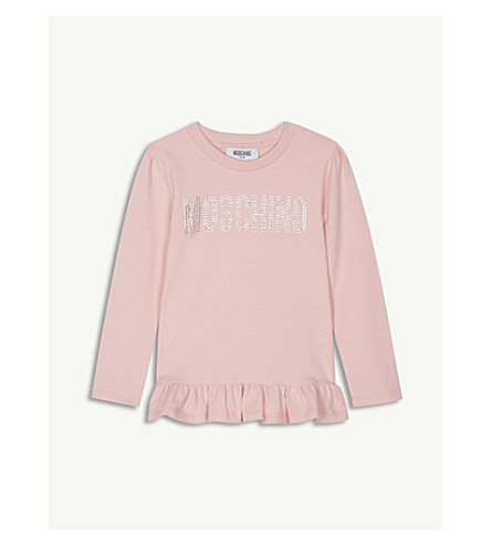 MOSCHINO 水晶标志棉 T 恤 4-14 岁 (粉红色