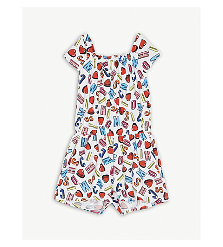 MOSCHINO Letter heart print cotton-blend playsuit 4-14 years (Alpha+heart