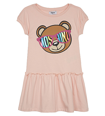 MOSCHINO Teddy cotton dress 4-14 years (Rose+bloom