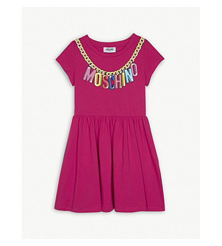 MOSCHINO Chain brand logo print cotton-blend short-sleeved dress 4-14 years (Fuschia