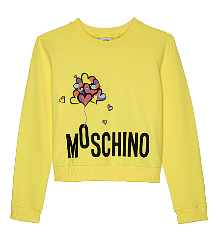 MOSCHINO Balloon logo stretch-cotton jumper 4-14 years (Yellow