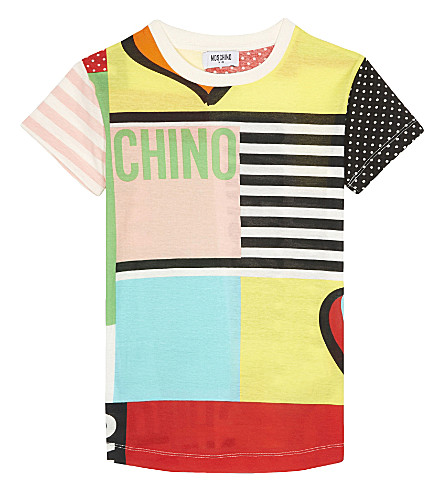 MOSCHINO Patchwork cotton maxi T-shirt 4-14 years (Multicolor