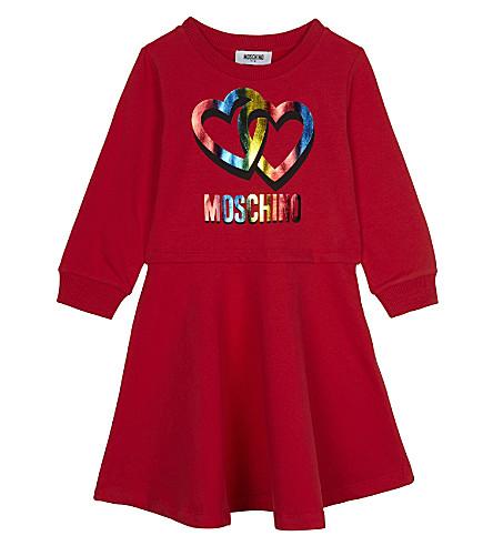 MOSCHINO Metallic heart cotton dress 4-14 years (Red