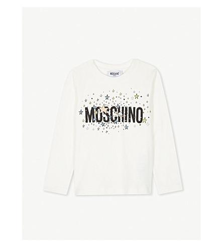 MOSCHINO 银河标志棉质混纺上衣 4-14 岁 (奶油