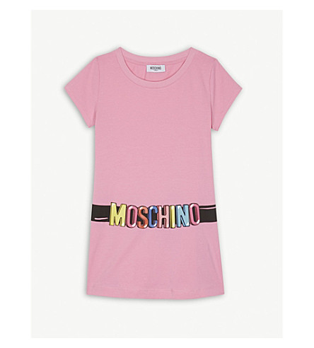 MOSCHINO Logo cotton-blend dress 4-14 years (Pink