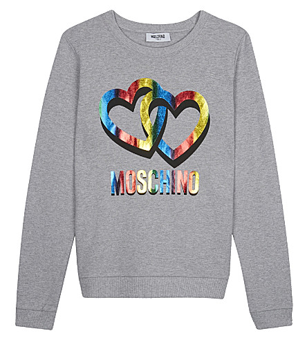 MOSCHINO Cotton heart jumper 4-14 years (Grey