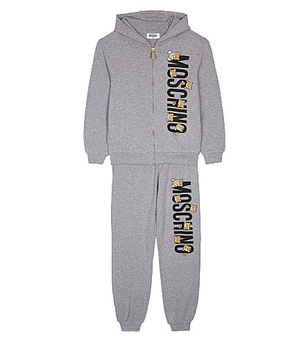 MOSCHINO Teddy logo cotton tracksuit set 4-14 years (Grey