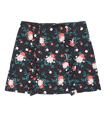 VIVETTA Apple tree and floral-print twill skirt (Black