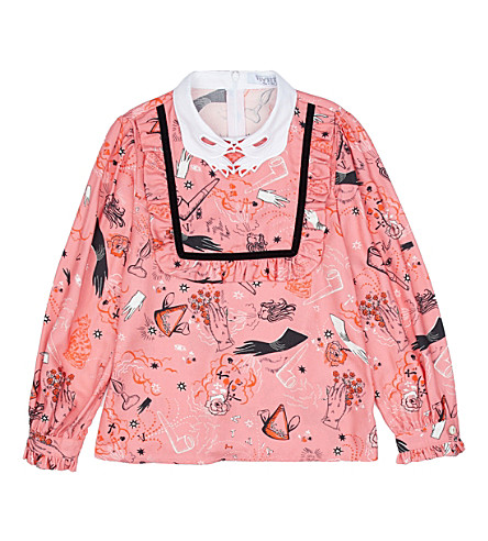 VIVETTA Surreal-print twill blouse 4-14 years (Pink