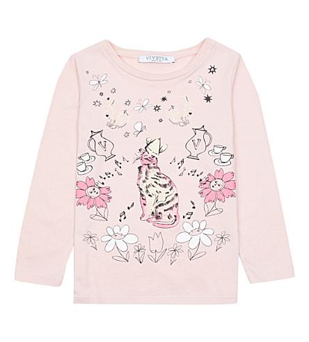 VIVETTA Cat-print cotton-jersey top (Pink