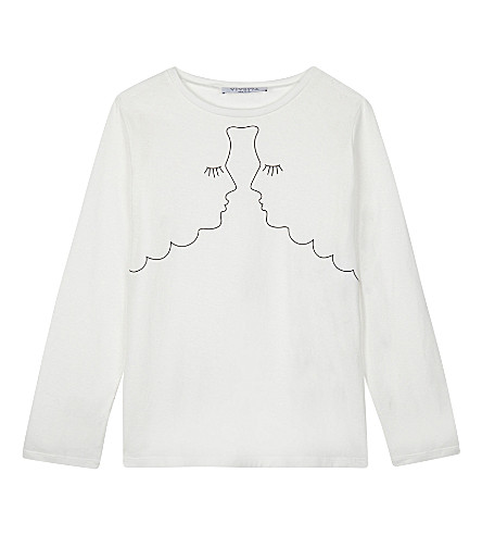 VIVETTA Printed faces cotton long-sleeved top 4-14 years (White