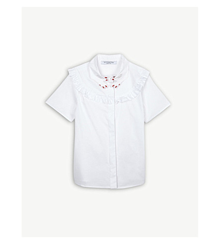 VIVETTA Hand-detail and ruffle stretch-cotton shirt 4-14 years (White