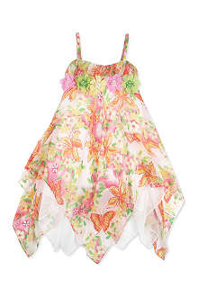 DAVID CHARLES Floral hankerchief hem silk dress 10-16 years