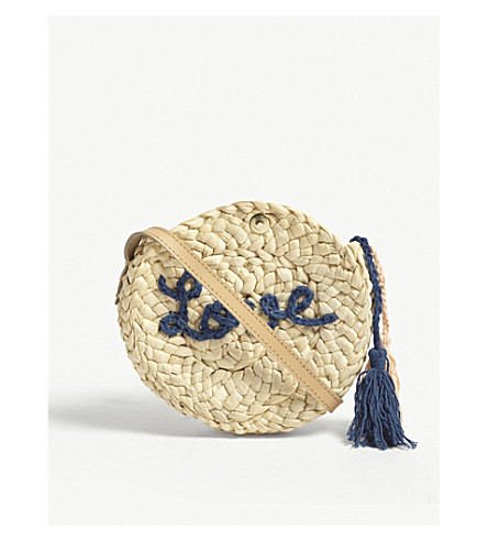 CHLOE Round woven brand logo and 'love' motif straw cross-body bag (Navy