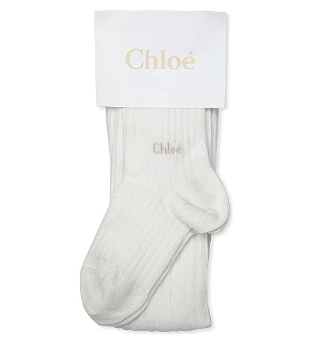 CHLOE Tights with ankle logo 9 months - 4 years (Ivory
