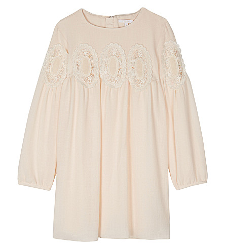 CHLOE Embroidered lace-detailed crepe dress 4-14 years (Pale+pink