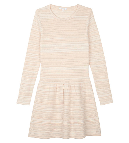 CHLOE Knitted cotton-blend long-sleeved dress 4-14 years (Pale+pink