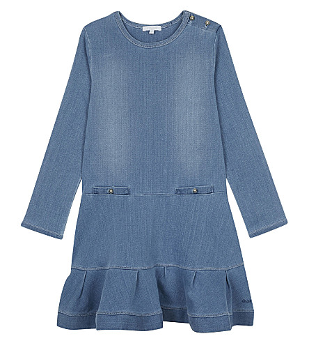CHLOE Denim drop hem dress 4-14 years (Denim+blue