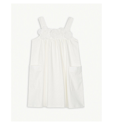 CHLOE Floral appliqué cotton dress 4-14 years (White