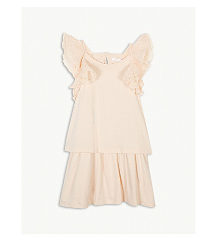 CHLOE Frill sleeve cotton-blend dress (Apricot