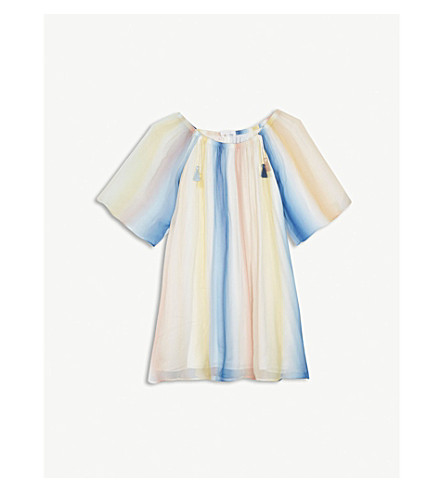 CHLOE Rainbow ombre silk dress 6-14 years (Blue+pink