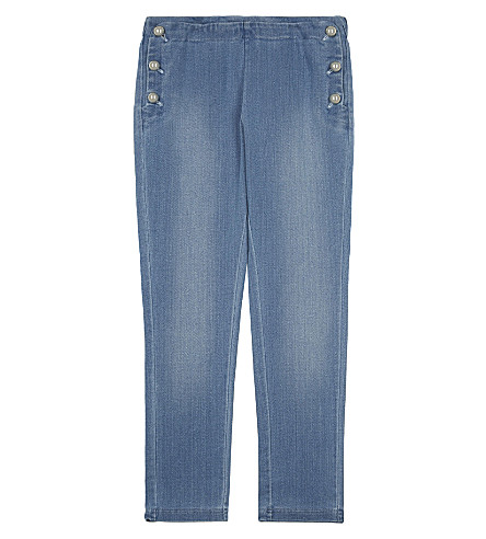 CHLOE Dome button cotton jeggings 4-14 years (Denim+blue