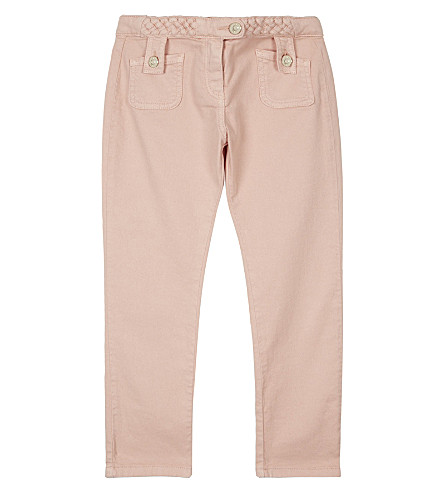 CHLOE Pleated cotton jeans 4-14 years (Pale+pink