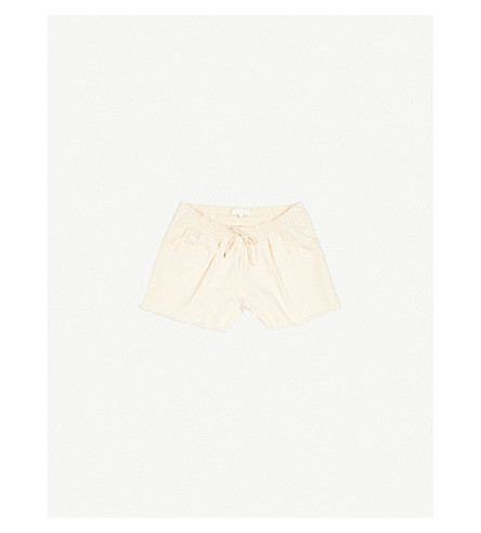 CHLOE Fringed cotton-twill shorts 4-14 years (Apricot