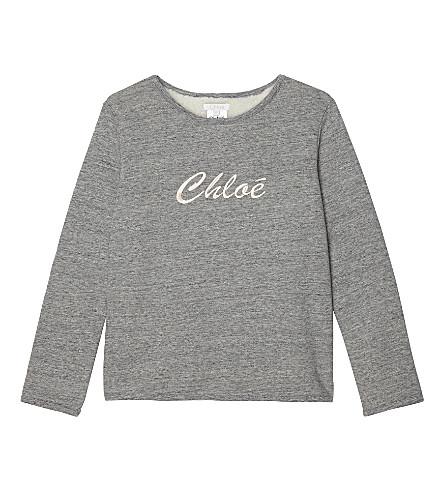 CHLOE Logo cotton-blend sweatshirt 4-14 years (Grey