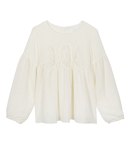 CHLOE Emboidered crepe top 4-14 years (Ivory