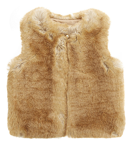 CHLOE Faux fur gilet 4-14 years (Carmel