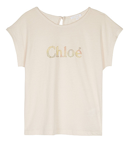 CHLOE Logo cotton & modal T-shirt 4-14 years (Pale+pink